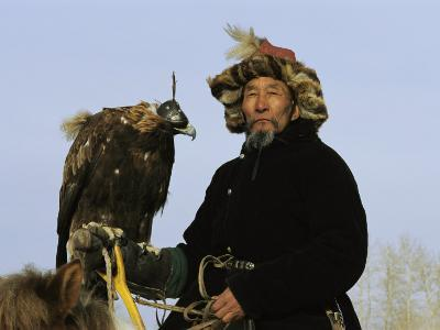 A Mongolian Eagle Hunter in Kazakhstan-Ed George-Photographic Print