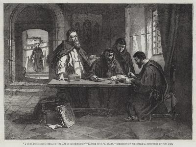 A Monk Instructing Others in the Art of Illumination--Giclee Print