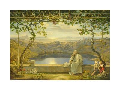 A Monk on a Terrace at the Nemi Lake, 1818-Joachim Faber-Giclee Print