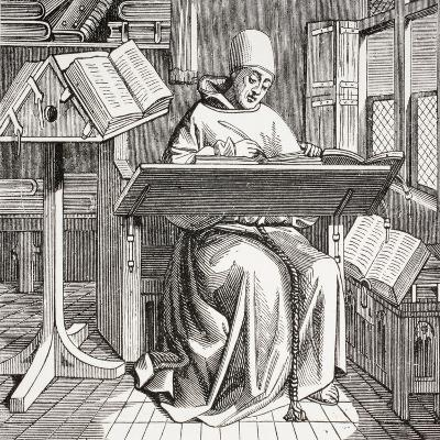 A Monk Scribe Surrounded by Manuscripts and Books at His Desk, after a 15th Century Work, from…--Giclee Print