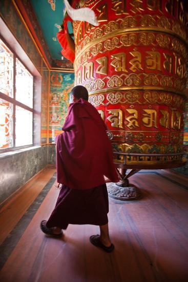 A Monk Spins the Worlds Largest Prayer Wheel Near Boudhanath Stupa-Ben Horton-Photographic Print