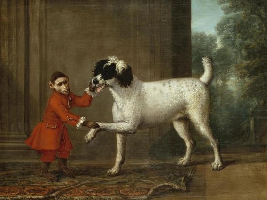 A Monkey Wearing Crimson Livery Dancing with a Poodle on the Terrace of a Country House-John Wootton-Giclee Print