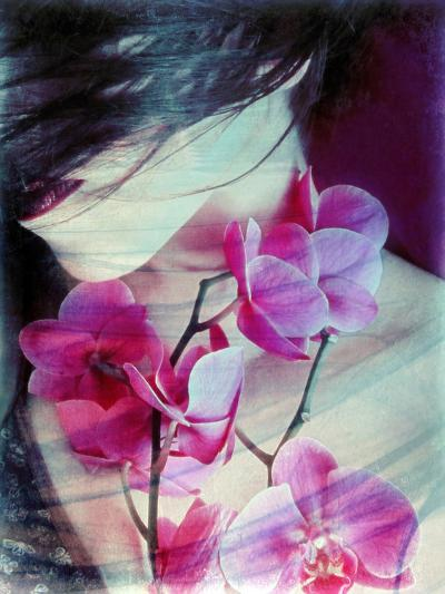 A Montage of a Portrait of a Woman with Pink Orchids and Texture-Alaya Gadeh-Photographic Print