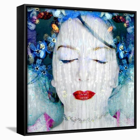 A Montage of a Portrait of a Womans Face with Flowers and Textures-Alaya Gadeh-Framed Canvas Print