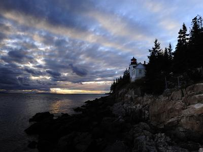 A Moody Sky over Bass Harbor Head Lighthouse at Sunset-Raul Touzon-Photographic Print