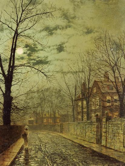 A Moonlit Road-John Atkinson Grimshaw-Premium Giclee Print