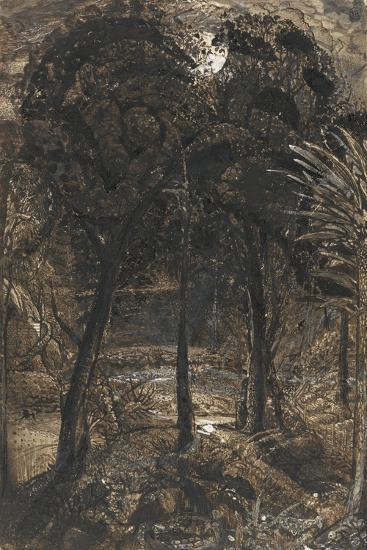 A Moonlit Scene with a Winding River, 1827-Samuel Palmer-Giclee Print