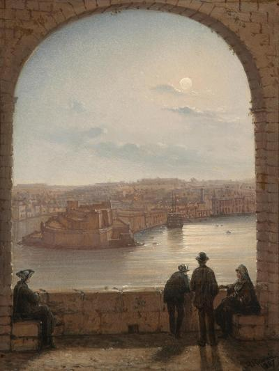 A Moonlit View of Fort St Angelo, Valletta, 1887-Giancinto Gianni-Giclee Print