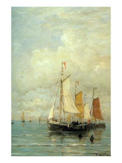A Moored Fishing Fleet-Hendrik William Mesdag-Art Print