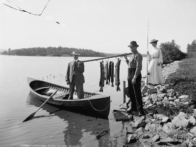 A Morning's Catch in the Adirondacks, C.1903--Photographic Print