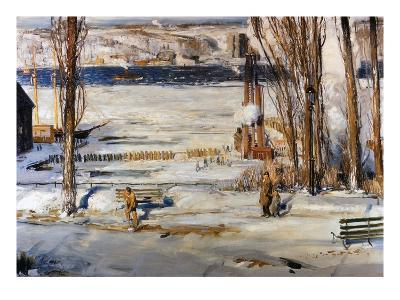 A Morning Snow, Hudson River-George Wesley Bellows-Giclee Print