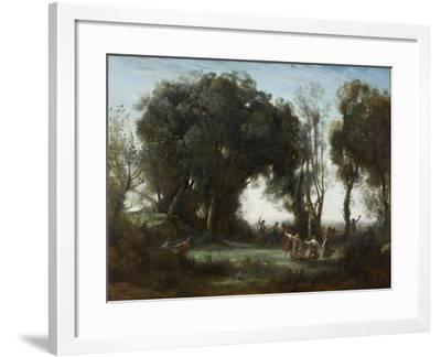 A Morning. the Dance of the Nymphs, 1850-Jean-Baptiste-Camille Corot-Framed Giclee Print