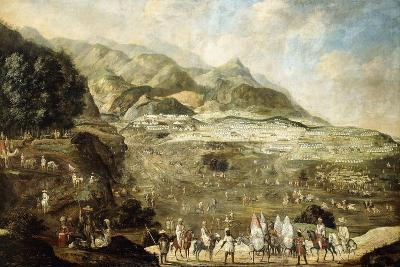 A Moroccan Military Encampment with Veiled Ladies on Donkeys in the Foreground--Giclee Print