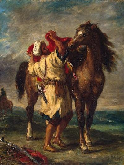 A Moroccan Saddling His Horse, 1855-Eugene Delacroix-Giclee Print