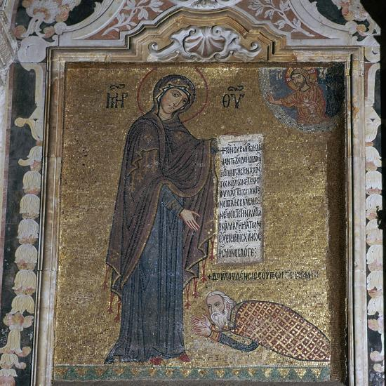 A mosaic of George of Antioch before the Virgin Mary, 15th century-Unknown-Giclee Print