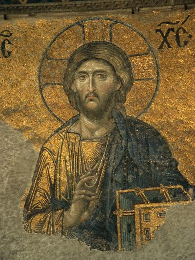 A Mosaic of Jesus at St. Sophia Hagia in Istanbul-Tim Laman-Photographic Print