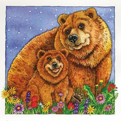 A Mother Bear and Her Cub in the Flowers. Mom-Wendy Edelson-Giclee Print