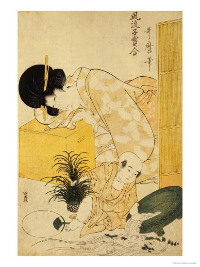 A Mother Dozing While Her Child Topples a Fish Bowl-Kitagawa Utamaro-Giclee Print