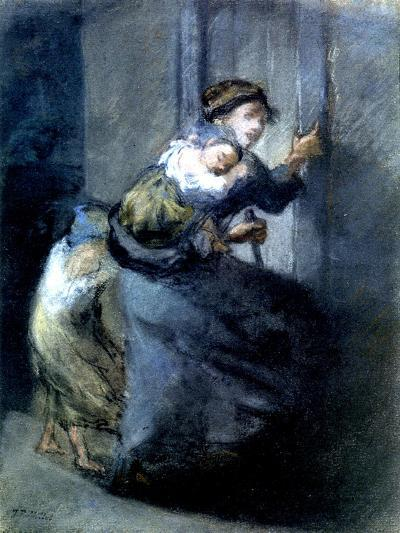 A Mother Fleeing with Two Children-Jean-Fran?ois Millet-Giclee Print