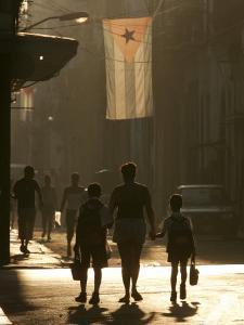 A Mother Walks Her Children to School in Old Havana, Cuba