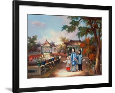 A Mother with Her Children in a Chinese Garden, circa 1850--Framed Giclee Print