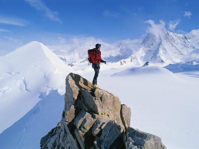 A Mountain Climber Summits Mount Bearskin-Gordon Wiltsie-Photographic Print
