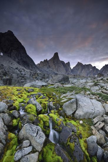 A Mountain Stream Coursing Through Moss-Covered Boulders-Keith Ladzinski-Photographic Print