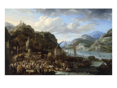 A Mountainous River Landscape with a Crowded Market Scene, 1661-Jan Peeters-Giclee Print