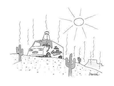 "A ""Mr. Saltee"" truck is parked in the desert, with a large salt shaker on ? - New Yorker Cartoon-Jack Ziegler-Premium Giclee Print"