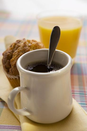 A Mug of Coffee, Muffin and Orange Juice-Foodcollection-Photographic Print