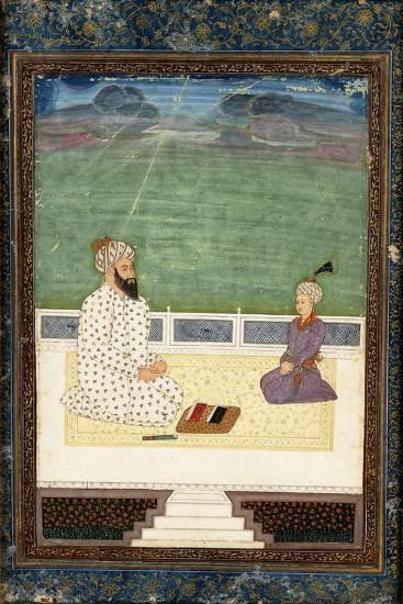 A Mullah and a Pupil, 18th Century (Gouache Heightened with Gold, on Paper)--Giclee Print