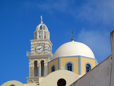 A Multi-colored Church On the Road Between Fira and Firostefani-Charles Kogod-Photographic Print