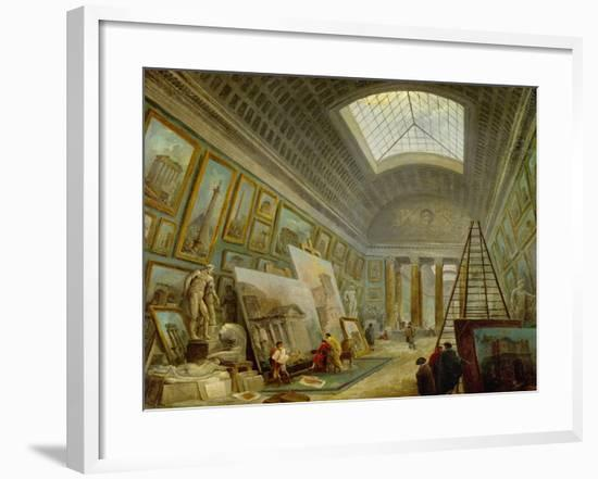 A Museum Gallery of Roman Art-Hubert Robert-Framed Giclee Print