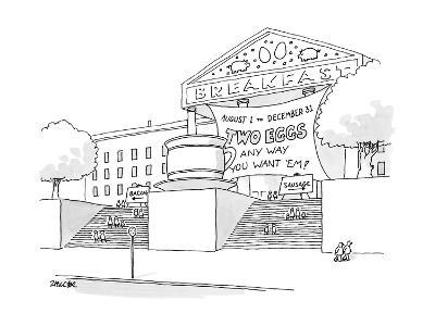 A museum-like building is dedicated to Breakfast with a large coffee cup o? - New Yorker Cartoon-Jack Ziegler-Premium Giclee Print
