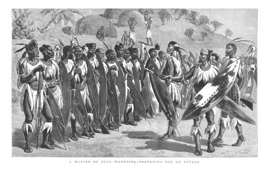 'A Muster of Zulu Warriors - Preparing for an Attack.', 1879-Unknown-Giclee Print