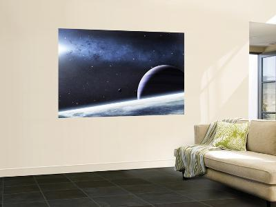 A Mysterious Light Illuminates a Small Nebula and Nearby Planets-Stocktrek Images-Giant Art Print