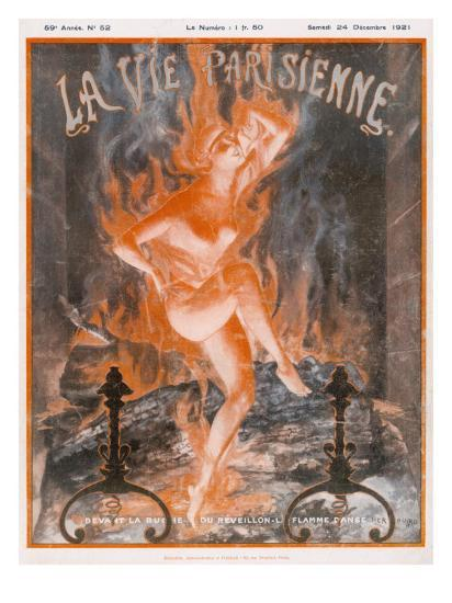A Naked Woman Dances as Fire on the Burning Wood of a Fireplace--Giclee Print