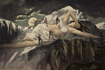 A Naked Woman on a Mountainside Being Climbed by Mountaineers While the Moon Looks On--Giclee Print