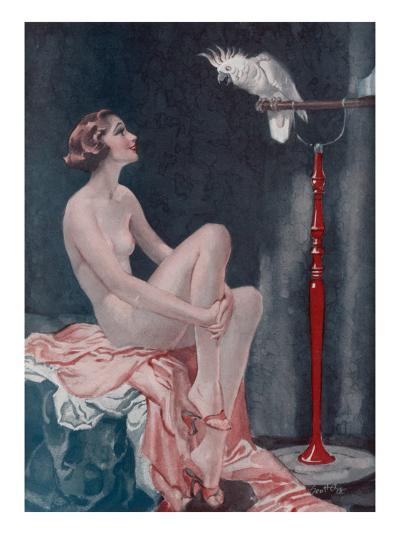 A Naked Woman Relaxing While Speaking to Her Cockatoo--Giclee Print