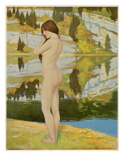 A Naked Woman Standing by a Lake, Looking Thoughtful--Giclee Print