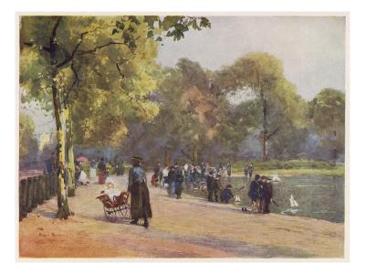A Nanny Watches Children Play by the Serpentine, Kensington Gardens--Giclee Print