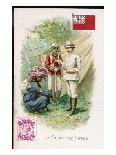 A Native Postman Delivers Mail to a British Officer Serving in Natal--Giclee Print