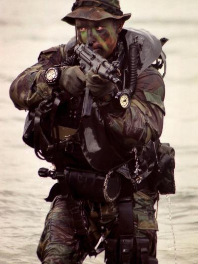 A Navy SEAL Exits the Water Armed And Alert For Action-Stocktrek Images-Photographic Print