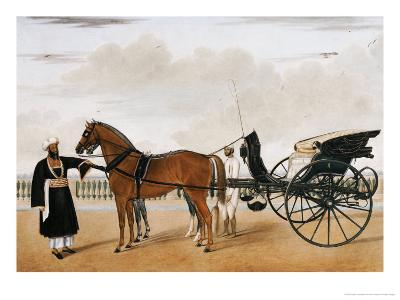 A Nawab Standing by His Horse Drawn Gharry or Carriage Attended by His Groom Bearing a Chauri-Shaikh Muhammad Amir Of Karraya-Giclee Print