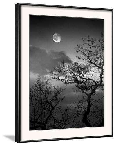 A Nearly Full Moon Sets over the Blue Ridge Mountains at Dawn-Amy & Al White & Petteway-Framed Photographic Print