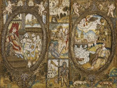 A Needlework Book Binding Depicting Religious Scenes with a Seated King and an Angel--Giclee Print