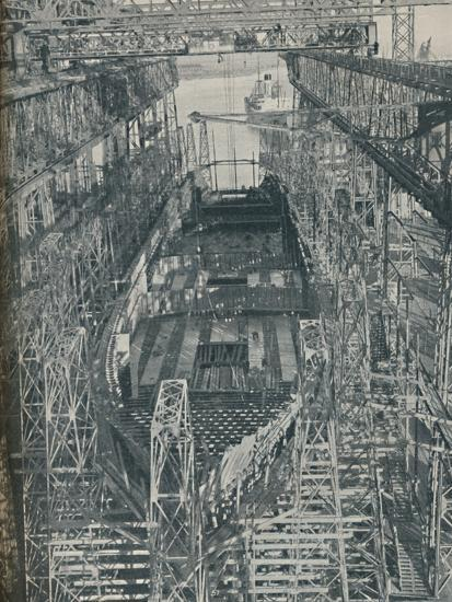 'A Nest of Steel. Cunard White Star liner Georgic in construction, 1927-1929, (1936)-Unknown-Photographic Print