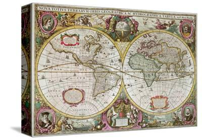 A New Land and Water Map of the Entire Earth, 1630-Henricus Hondius-Stretched Canvas Print