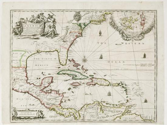New Map Of America.A New Map Of The English Plantations In America 1673 Coloured Engraving Giclee Print By Robert Morden Art Com