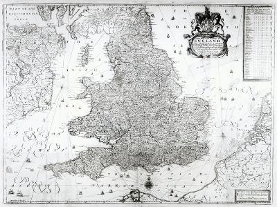 A New Map of the Kingdom of England and the Principalitie of Wales, 1669-William Berry-Giclee Print